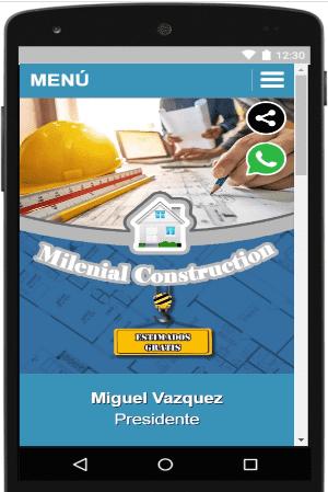Milenial Construction promueve nuestra tarjeta de negocio